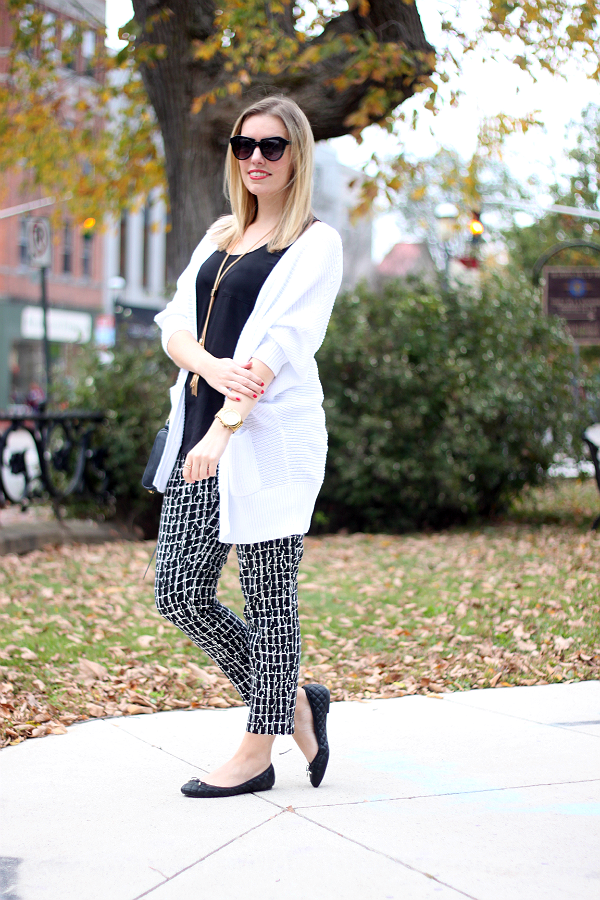 Printed Ankle Pants & Oversized Cardigan