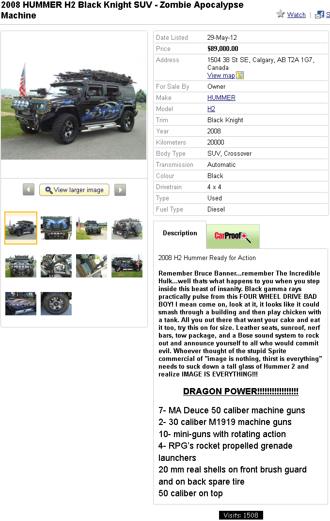 The vehicle for surviving the zombie apocalypse (605) | You Suck at Kijiji: Funniest, Best ...