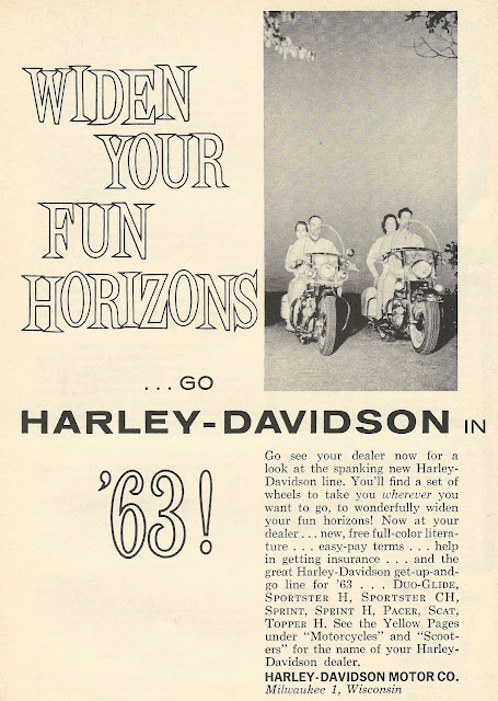 Old Ads Are Funny  1962 ad  Harley Davidson 1963 line