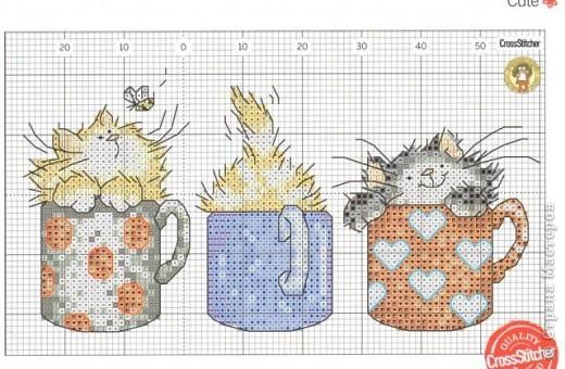 Вышивка коты в кружке 24