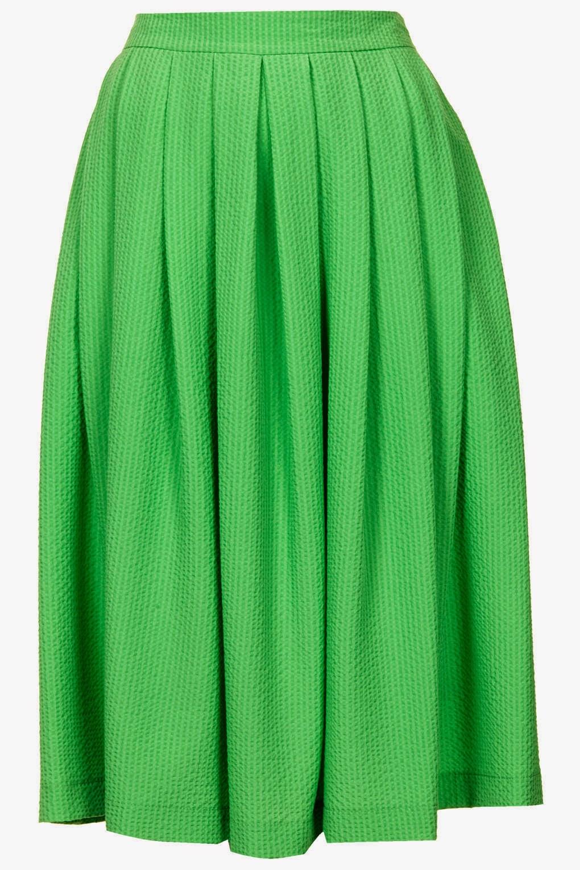 bright green knee length skirt