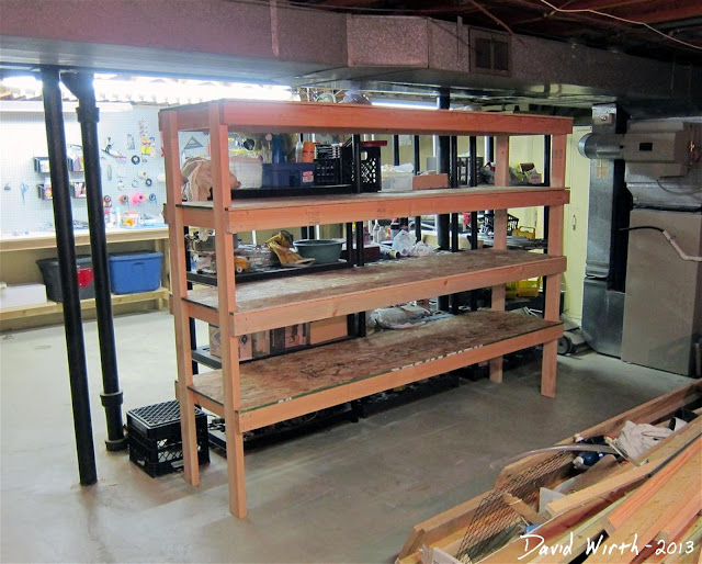 basement shelf, storage, organize, how to make, wood shelf, build, plans