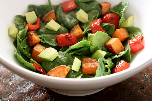 Roasted sweet potato, red bell pepper & avocado salad