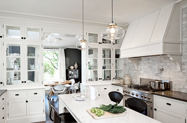 White Kitchen Cabinets with Glass Knobs
