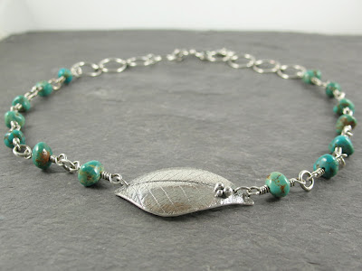 Cicada Silver PMC fine silver & Royston turquoise necklace
