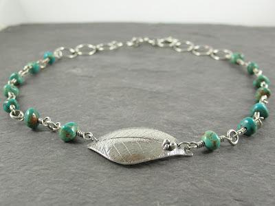 Cicada Silver PMC fine silver & Royston turquoise necklace
