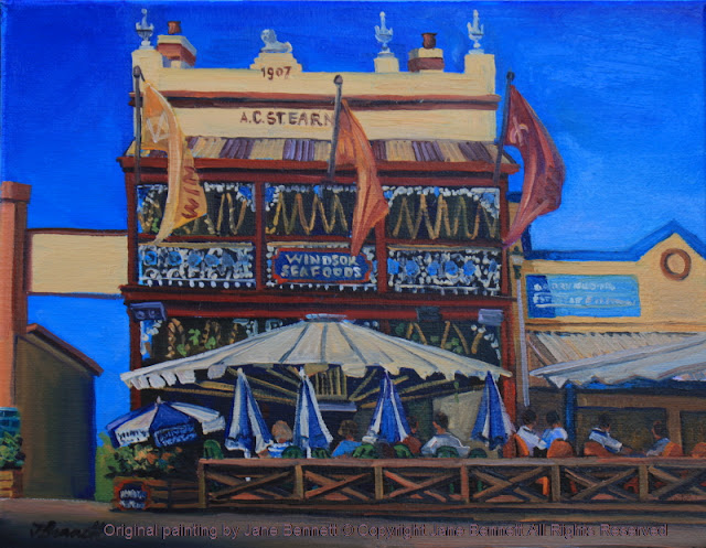 plein air oil painting of the heritage architecture, the A.C.Stearns building,George Street Windsor,(Windsor Seafoods), painted by artist Jane Bennett