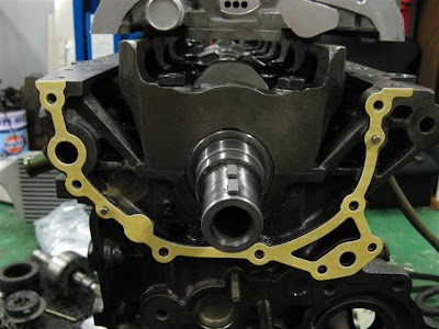 Oil pump gasket on engine