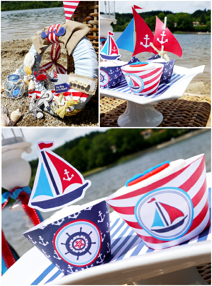A rustic shabby chic nautical birthday party party ideas for Anchor decoration party