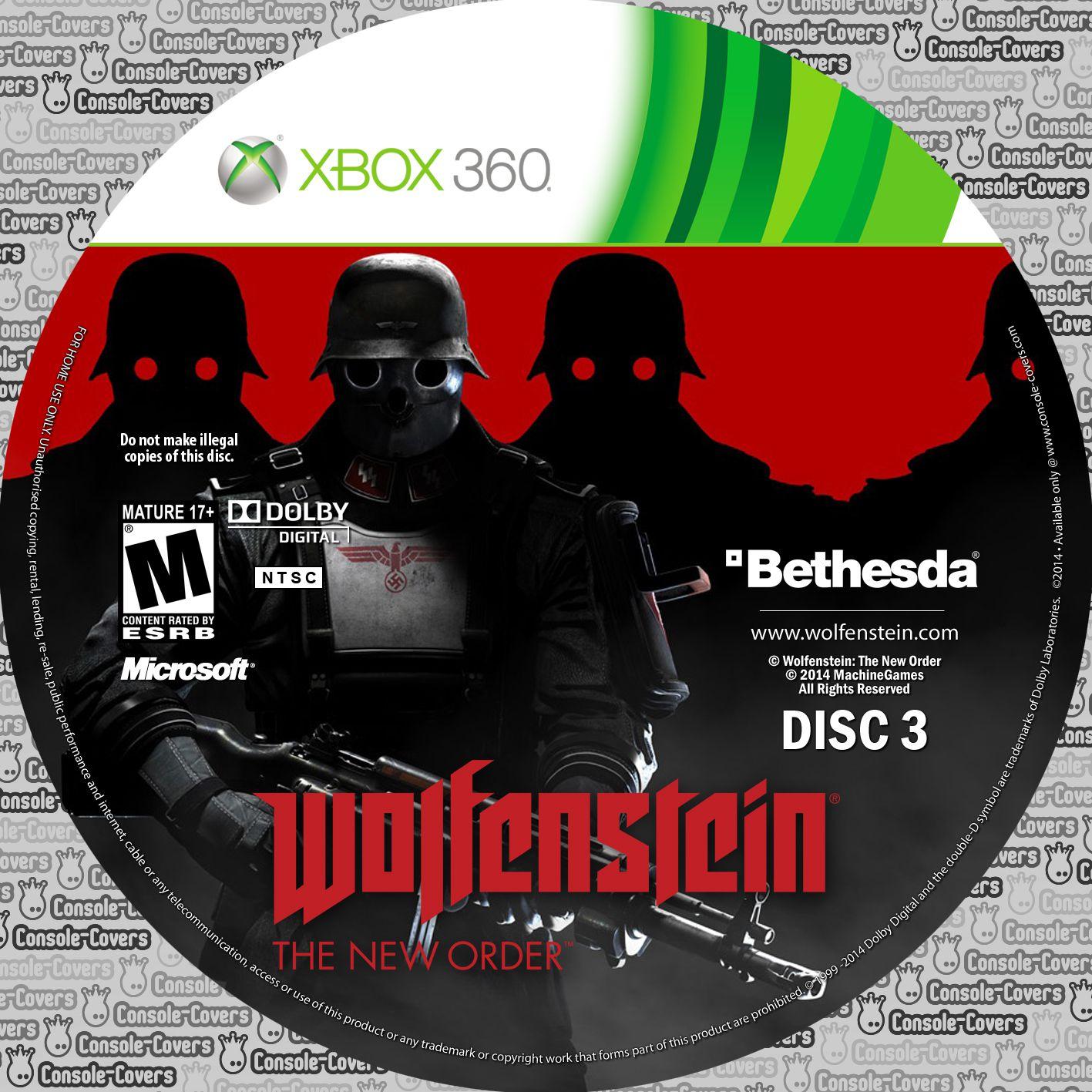 Label Wolfenstein The New Order Disc 3 Xbox 360