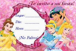 Invitaciones de Cumpleaños, Princesas Disney, modelo 5