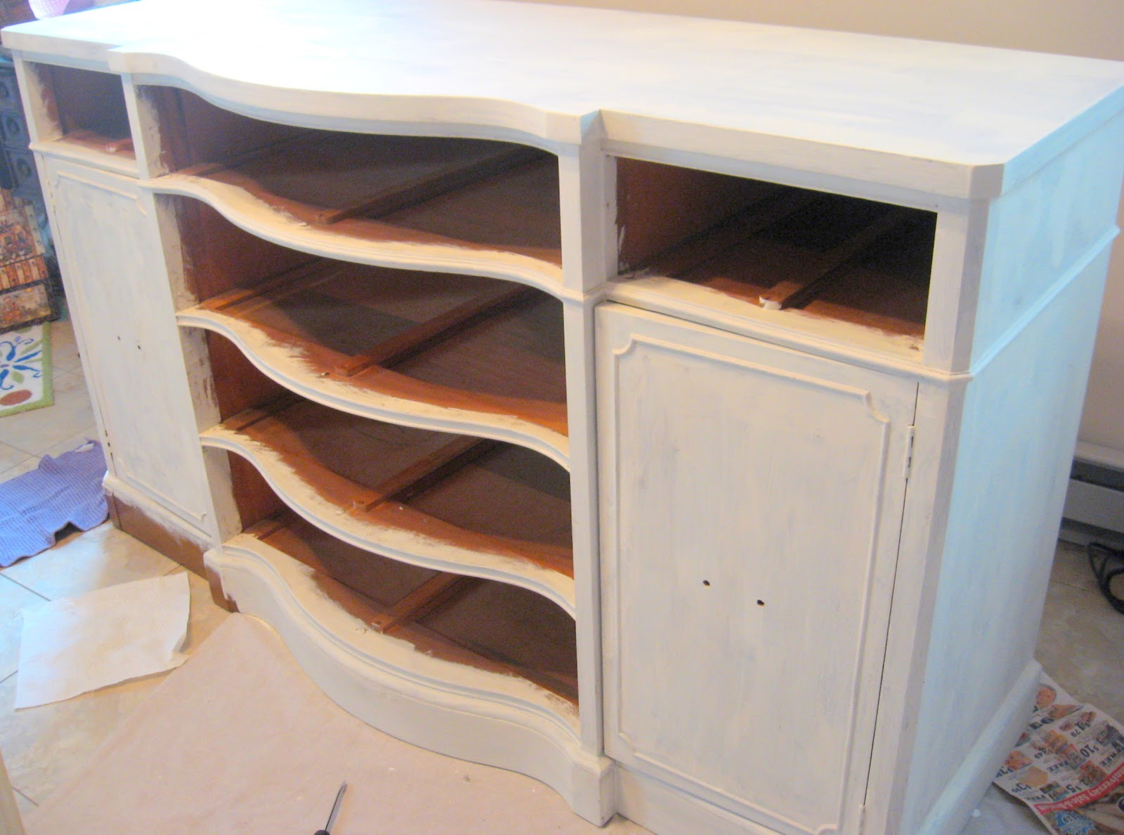 out the annie sloan chalk paint and paint the buffet