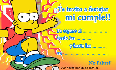 Invitacn de cumpleaos de Los Simpsons