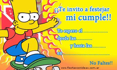 Invitacón de cumpleaños de Los Simpsons