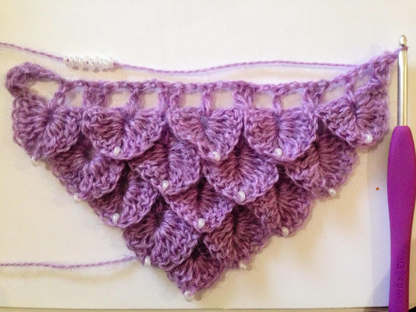 Knit Crocodile Stitch In The Round : crochet rockstar: Crochet Beaded Crocodile Stitch Scarf