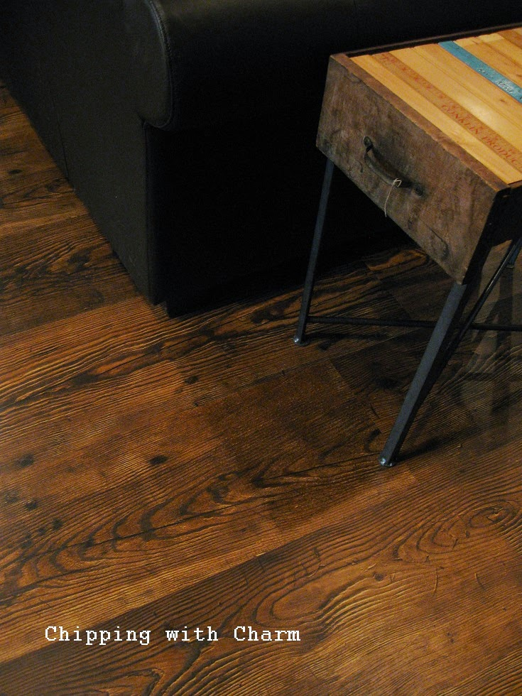 Chipping with Charm: New dark and rustic flooring...www.chippingwithcharm.blogspot.com