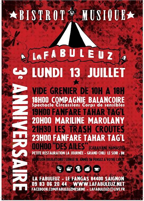 Lundi 13 Juillet 2015 3ème anniversaire de la Fabuleuz à Saignon dans le vaucluse
