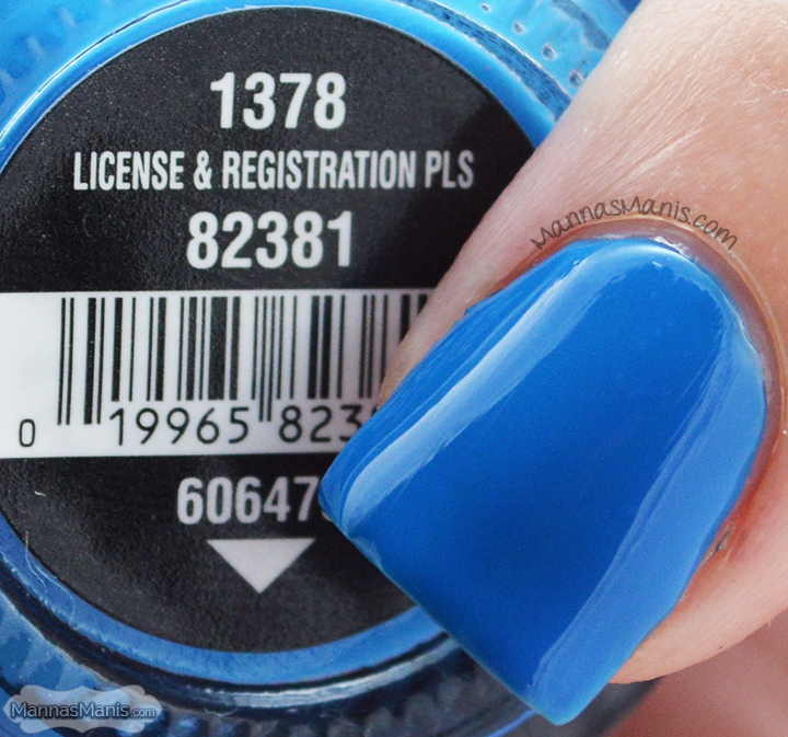 China Glaze Road Trip License and Registration Pls, a blue creme nail polish