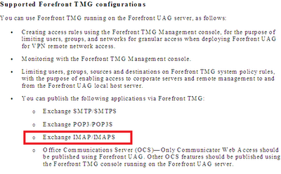 TMG supported configuration on UAG