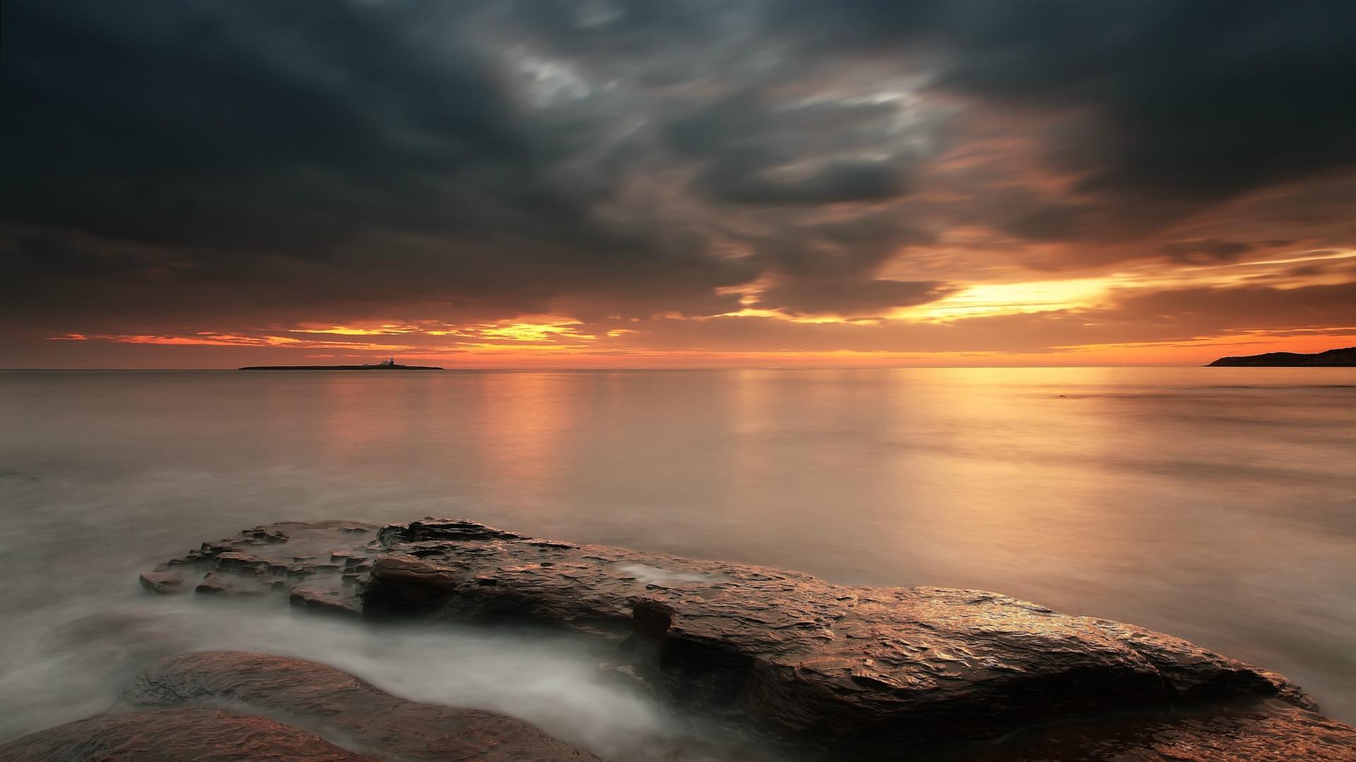 cloudy sunset landscape - high