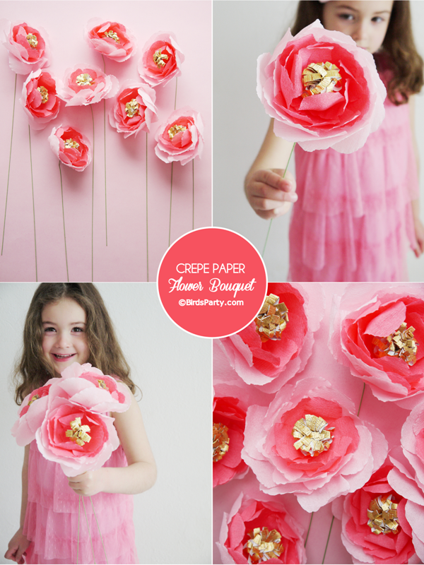 Mother's Day Easy Craft: DIY Crepe Paper Flower Bouquet
