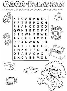 Caça-Palavras 4. Atividades para alfabetização.