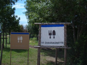 The sign at the entrance to La Chassagnette, with the addition of the bigger easier to see one!