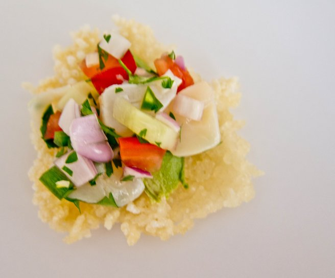 Scallop Ceviche on Rice Crackers