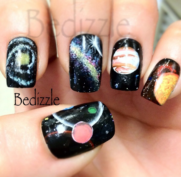 NAIL ART 2__ Galaxy, planets, moon and stars  Bow Of Moon