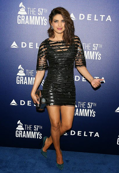 Priyanka Chopra in See-through Black Mini-dress