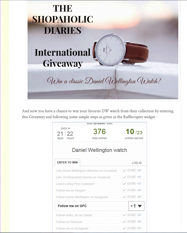International Giveaway | Win a Daniel Wellington Watch