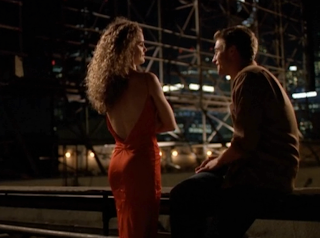 Felicity (Keri Russell) red dress on TV series Felicity with Ben.