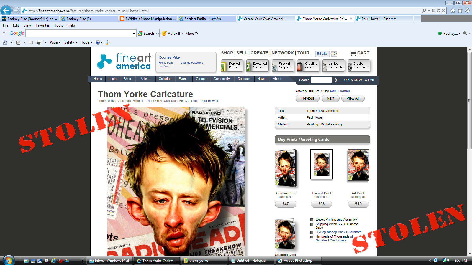 My Thom Yorke caricature for sale!
