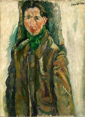 Chaïm Soutine - Autoportrait au rideau c. 1917
