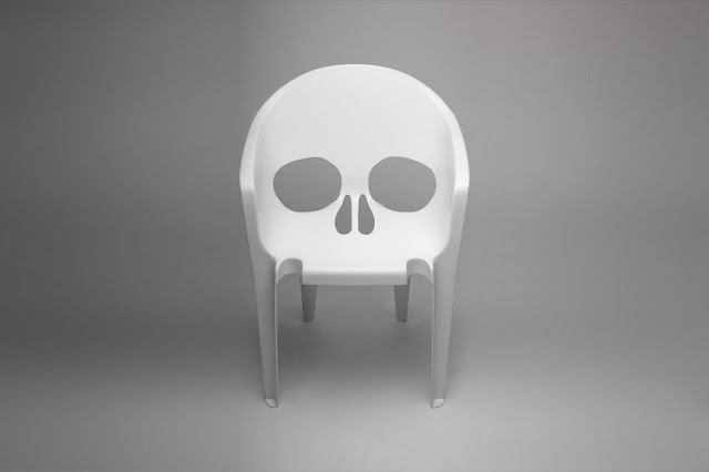 S.T.Q.T.V.M, silla, Halloween, studio pool, calavera, chair, skull, pool, white, blanco, plastic