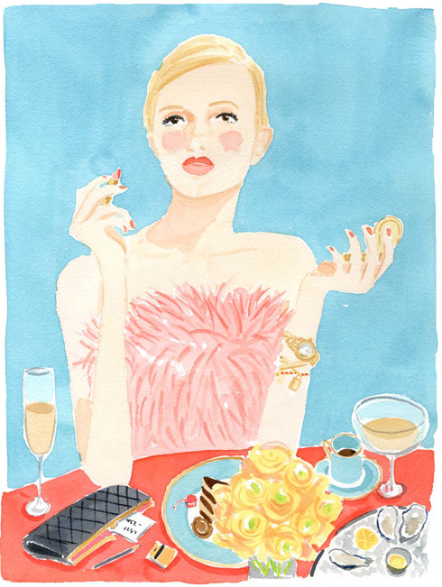 girl at the party watercolor by Caitlin McGauley