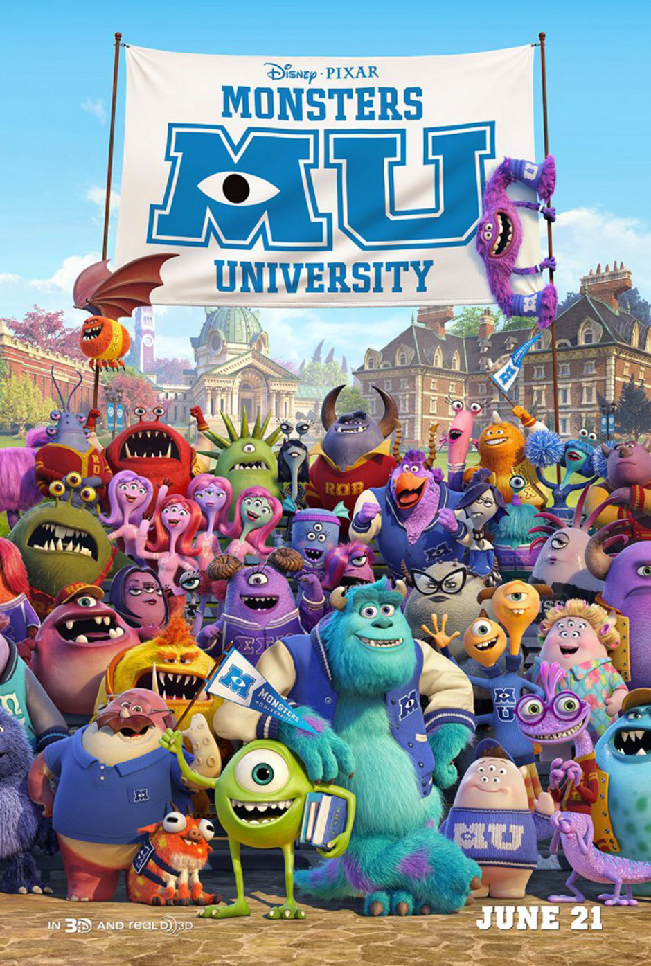 Monsters University 2013 film poster animatedfilmreviews.blogspot.com