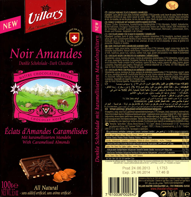 tablette de chocolat noir gourmand villars noir eclats d'amandes caramélisées