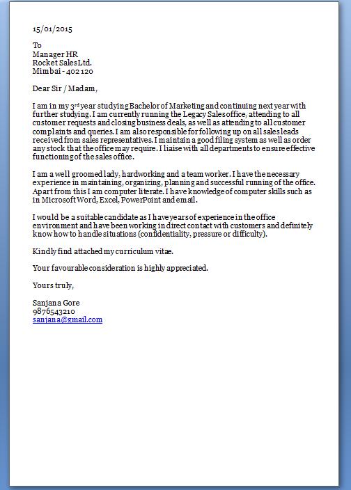 Job Application Letter Sample For Fresh Graduate Pdf
