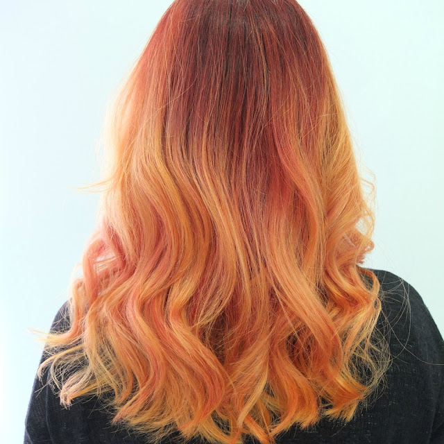 orange ombre hair, orange dip dye hair