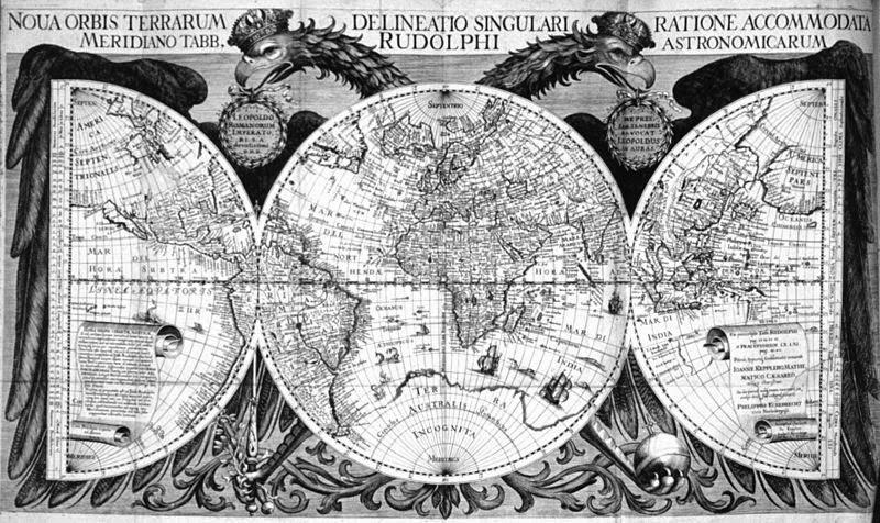 Mapamundi realizado por Johannes Kepler (1627)