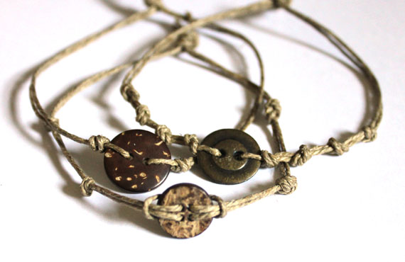 Hemp and Coconut Shell Button Bracelets