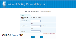 IBPS CWE 2013 Specialist Officer Admit Cards Download at www.ibps.in