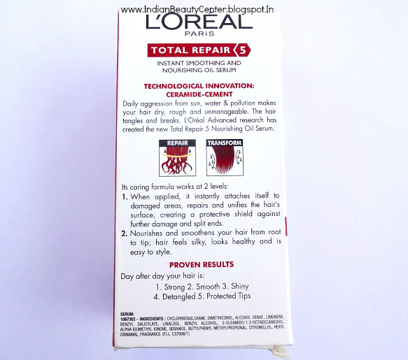 L'oreal Total Repair 5 Instant Smoothing and Nourishing Oil Serum product Information