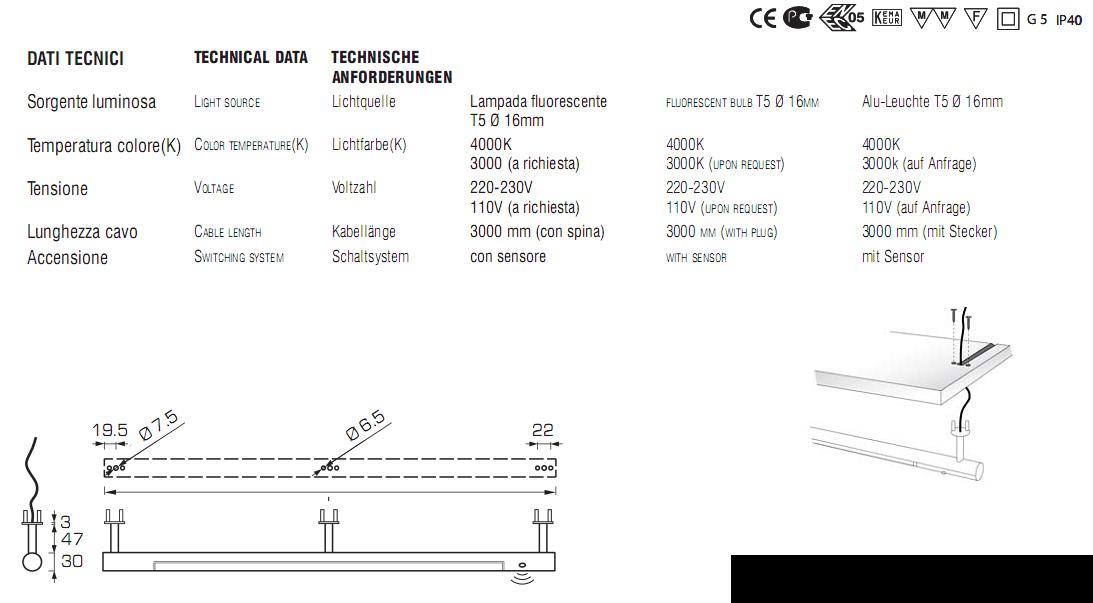 ficha técnica barra armario iluminación interior
