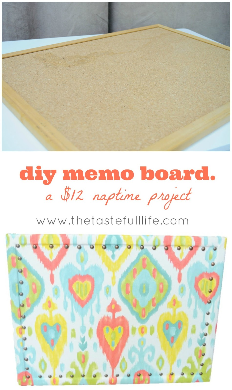 Diy memo board pretty real for Diy cork board