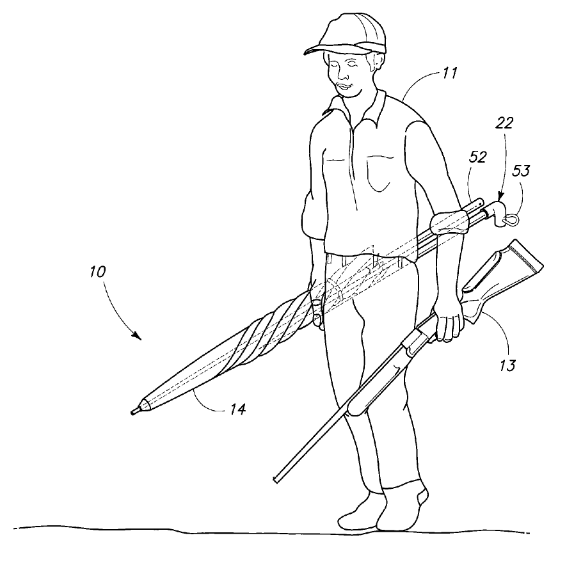 U.S. Patent 7,828,003 Figure 1, Hunter Carrying Blind and Rifle