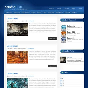 StudioBlue blogger template. template blogspot free. blu color background template blogger