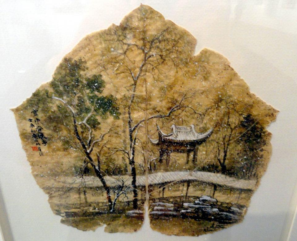 14-Pagoda-Pang Yande-Leaf-Painting-Folk-Art-and-Environmental-Protection-www-designstack-co