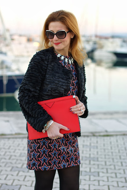Zara starry print dress, Zeza fashion fake fur jacket, marc by marc jacobs sunglasses, rockstar look, Fashion and Cookies, fashion blogger
